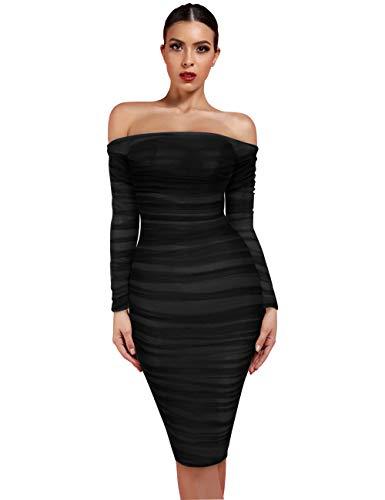 UONBOX Women's Chestnut Tulle Off Shoulder Long Sleeve Ruched Knee Length Bodycon Dress (M, Black)