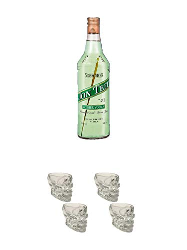 Nisskosher Vodka Jon Teff Bisongras Vodka 40% 0,7 Liter + Wodka Totenkopf Shotglas 2 Stück + Wodka Totenkopf Shotglas 2 Stück