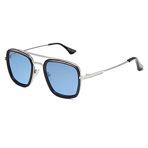 SOJOS Polarized Sunglasses for Men Women Retro Aviator Square Goggle Classic Alloy Frame HERO SJ1126 with Silver Frame/Black Rim/Blue Lens
