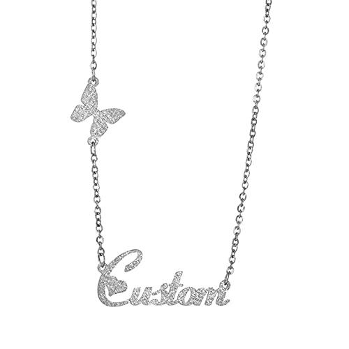 Collar con nombre personalizado Collar de acero inoxidable Collar de clavícula Nombre Colgante Aniversario para mujer(Plata 18)