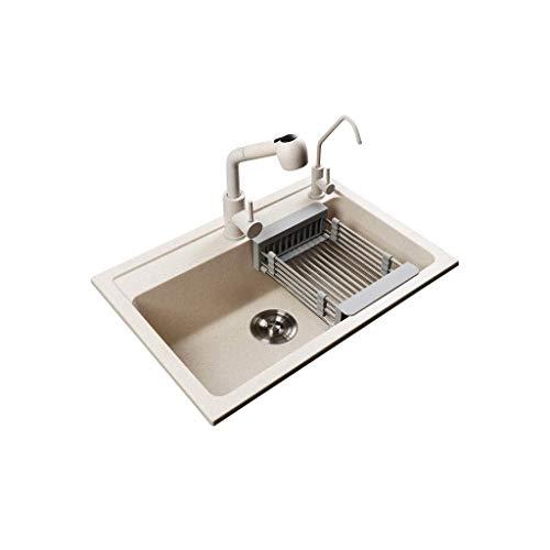 RVS wastafel 1 kommen kwarts steen enkele kom keuken wastafel ingebouwde wastafel afvoer combinatie pakket samengesteld hulpprogramma wastafel havermout natuursteen (Maat: 600Mm*450Mm)