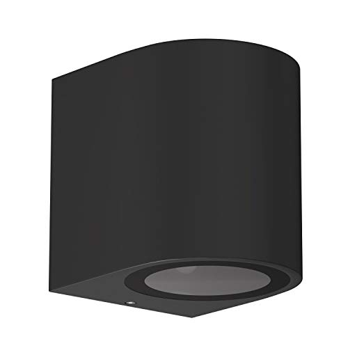 ledscom.de Wand-Außenleuchte ALSE Downlight, wetterfest, schwarz, Aluminium, rund, inkl. GU10 LED Lampe, weiß, 3-Stufen Dimmen: je 540lm/270lm/110lm, 4 Stk.