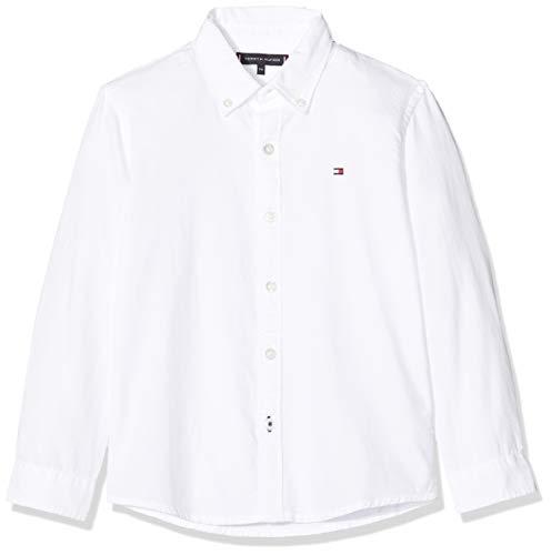Tommy Hilfiger Jungen Overdye Dobby Shirt L/s Hemd, Weiß (White Ybr), 6-7 Jahre (Herstellergröße: 6)