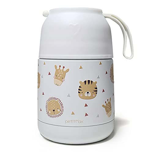 Petitmax: Termo Fiambrera De Acero Inoxidable Para Comida Caliente Solidos Bebe Sin BPA Con Cuchara Plegable Y Taza (Blanco Animales)