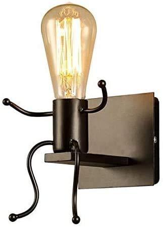FengShang Creativo Lampada da Parete Retro Ferro Vintage Applique da Parete Modern Metallo Decor Lampada da Applique Illuminazione per Bar, Camera da Letto, Ristorante, Corridoio E27 (Nero)