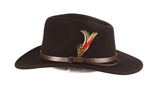Scala Classico Men's Crushable Felt Outback Hat, Black, XX-Large