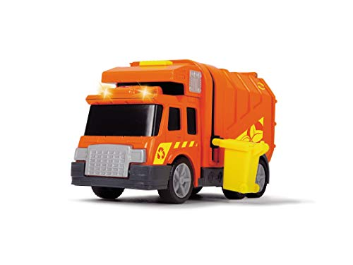 Dickie Toys City Cleaner, Müllauto, Müllabfuhr, Müllwagen, Straßenreinigung, Spielzeugauto mit Mülltonne, Licht & Sound, inkl. Batterien, 15 cm, Orange, ab 3 Jahren