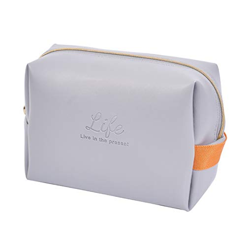guoYL26sx PU Leather Cosmetic Bag 16.5 * 7 * 12cm Waterproof Storage Bag Pouch Green/Gray/Pink Travel Handbag with Zipper