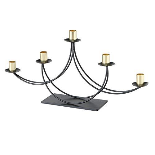 CasaJame Metall Kerzenleuchter Kerzenständer 5-armig Tischleuchter H25cm L50cm schwarz Gold Eisen