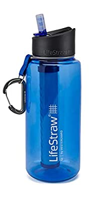 LifeStraw Go 1L Water Filter Bottle with 2-Stage Integrated Filter Straw for Hiking, Backpacking, and Travel, Blue