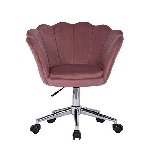 Sedia Velluto Ufficio Ergonomica Rosa Petalo Sedia da Scrivania con Rotelle Girevole a 360 ° Regolabile Regolabile (Rosa)
