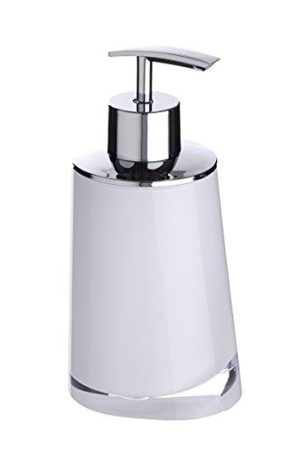 WENKO 20257100 Dispenser Sapone Paradise, Dosatore Sapone Capacità: 0.24 l, Acrilico, 8 x 16.3 x 6.6 cm, Bianco