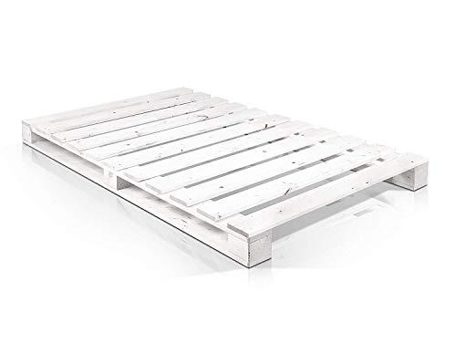 Dydaya Palets Blancos de 105 x 200 de Madera Lijados y Pintados de Blanco para Base de Cama & Pallets para Camas, Somieres, Estructuras
