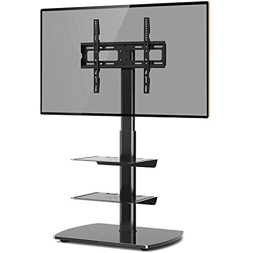 Soporte de TV Panel Giratorio Estante de 3 Pisos Base de Vidrio Templado de Montaje para 26-55 Pulgadas LED LCD OLED Plasma Plana Curva Pantallas de TV Altura Ajustable MAX. VESA 400x400mm