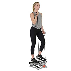 Sunny Health & Fitness Twist Stepper Machine with Resistance Bands
