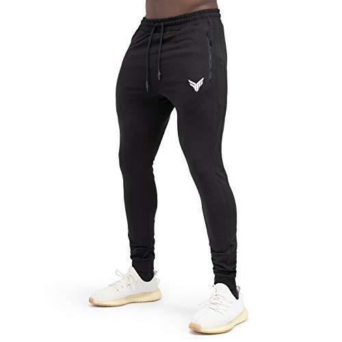 Fitness Method® Jogginghose für Herren - Innovative Traningshose, Extra Flexible Sporthose - Perfekt geeignet für Gym   Fitnesshose Slim Fit lang - Schwarz - M