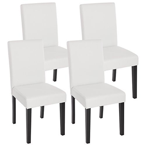 Mendler Lot de 4 chaises de séjour Littau, Simili-Cuir, Blanc Mat, Pieds foncés