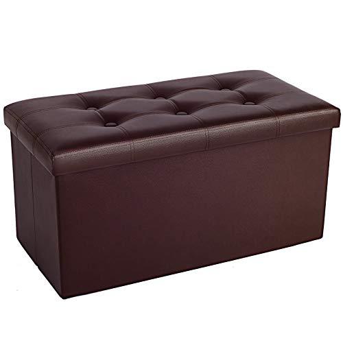 pouf contenitore marrone COSYLAND Panca ottomana con contenitore 76 x 38 x 38 cm Pouf marrone per stanza Poggiapiedi pieghevole in pelle poggiapiedi Poggiapiedi Rettangolo Mobili pieghevoli con coperchio