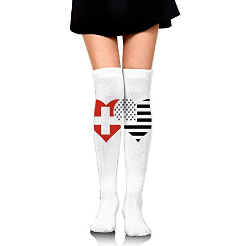 Hdadwy Knee High Socks Swiss Flag And American Flag Women's Athletic Over Thigh Long Stockings