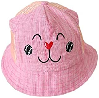 Baby Decoration Hat Cartoon Baby Ear Sun Protection Hat Sun Visor Toddler Breathable Mesh Cap for 1-2 Years Old(Pink) Cute Cap (Color : Pink, Size : 46-51cm)