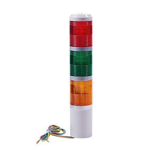 Othmro Bombilla de advertencia industrial de la torre de la señal de la lámpara de plástico electrónica siempre en la luz, sin sonido, rojo, verde, amarillo, 24 V, 3 W, 1 unidad