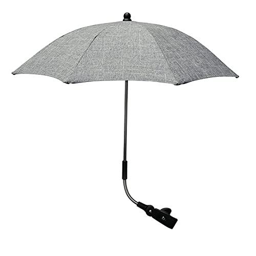 OHHCO Bebé Cochecito Paraguas Universal Parasol Paraguas bebé protección Sol Sol 50+ UV Paraguas con Paraguas Mango para Cochecito Cochecito Cochecito Gris Gris