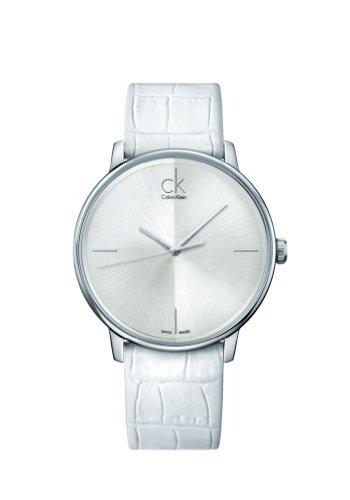 CK 0 - Reloj de Cuarzo para Hombre, con Correa de Cuero, Color Blanco