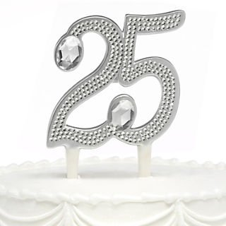 """HBH™ 6""""(H) """"25th"""" Anniversary Gilded Cake Pick With Sparkling Clear Rhinestone Accents; Silver-Tone"""