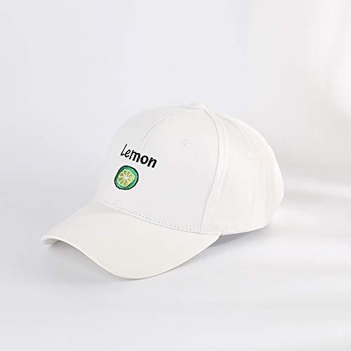 Sksngf Klassische Baseballmütze, Zitrone Netter Hut, Sonnenhut, Sonnenschutz Art und Weise modisches Hut, Baumwollmaterial, atmungsaktiv, Einstellbare Größe Design, Outdoor-Sport-Hut (Color : Weiß)