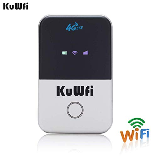 KuWFi 4G LTE Mobile WiFi Hotspot Unlocked Travel Partner Wireless 4G Router with SIM Card Slot Support LTE FDD B1/B3/B5 in Europe/Asia/Australia/Africa/Middle East