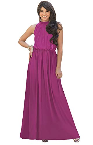 KOH KOH Womens Long Sexy Sleeveless Bridesmaid Halter Neck Wedding Party Guest Summer Flowy Casual Brides Formal Evening A-line Gown Gowns Maxi Dress Dresses, Fuchsia Magenta Pink L 12-14