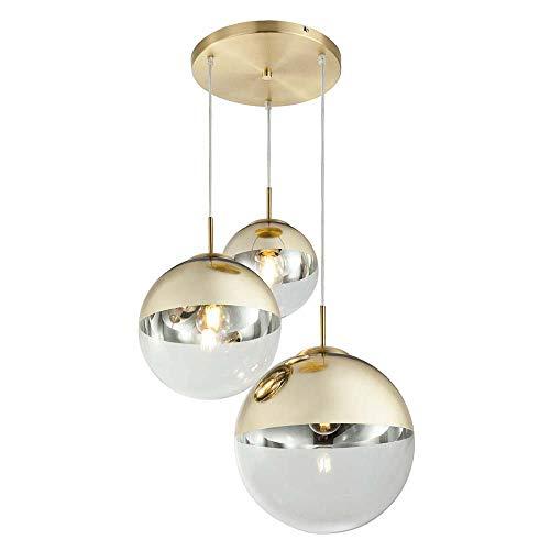 Hänge Lampe Schlaf Gäste Zimmer Leuchte 3x Glas Kugeln Gold Strahler Globo 15855-3