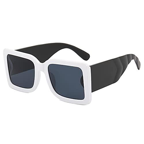 JINZUN Gafas de Sol de Moda Gafas de Sol de Tendencia con Montura Grande Gafas de Sol con Visera Anti-UV Unisex Montura Blanca/Pies Negros