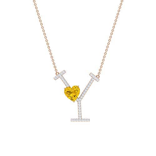 Colgante de zafiro amarillo de 7 mm creado en laboratorio, colgante con inicial de moissanita de 1/4, collar de oro con letra Y. amarillo