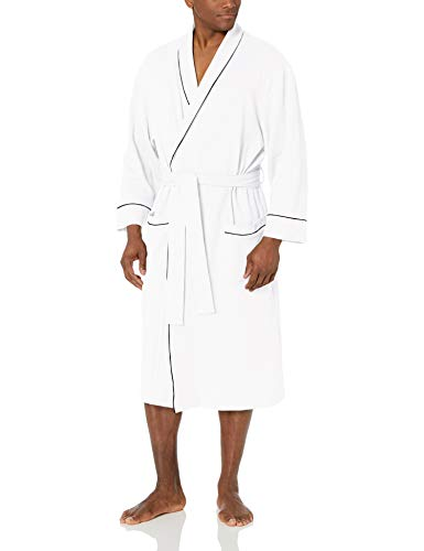 Amazon Essentials Herren-Bademantel mit Schalkragen, Waffelmuster, White, US XL-XXL (EU XXL-3XL)