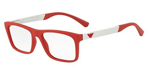 Emporio Armani 0EA3101 Monturas de gafas, Red Rubber, 55 para Hombre