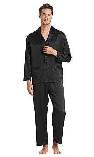 LilySilk Seide Herrenpyjama Set Schlafanzug Nachtwäsche Herren aus Seide von 16 Momme Schwarz L Verpackung MEHRWEG