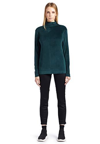 khujo Damen Sweatshirt FROMMA aus weichem Nicki figurnaher Pullover mit Stehkragen