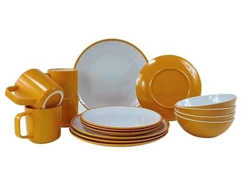 Melamin-Geschirr Campinggeschirr 16-teilig für 4-Personen Set Picknick Outdoor inkl. 4X Non-Slip Kaffeebecher Sunset Yellow