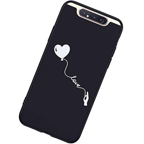 Coque Compatible avec Samsung Galaxy A80/A90 Étui KunyFond Design Noir Ultra Mince Gel Souple TPU Silicone Clear Créatif Motif Protection Choc Scratch Crystal Housse Téléphone Bumper Case,Love