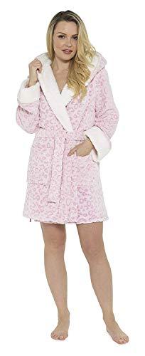 CityComfort Morgenmantel Damen Lang Kurz Leopard mit Kapuze und Schalkragen | Ultraweicher Bademantel aus Fleece mit Kontrastfutter für Damen | Geschenkidee für Frauen (44/46, rosa Leopard)