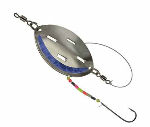 Jenzi DEGA Butt-Löffel fertig montiert, mit Haken, Wirbel, Schnur und Leuchtperlen, DREI Farben und Gewichten verfügbar (Blau, 40g)