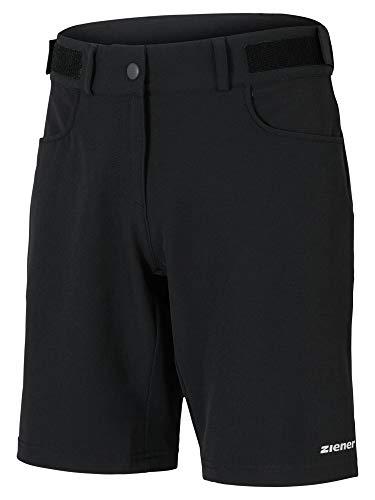 Ziener Damen PIRKA X-Function Fahrrad-Shorts/Rad-Hose Mit Innenhose/Mountainbike - Atmungsaktiv|schnelltrocknend|gepolstert, Black, 38