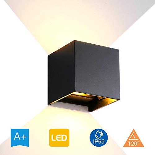 YJHome 12W wandlamp, aluminium waterdicht IP65 LED-wandverlichting voor binnen en buiten, 85 V-265 V 3000 K instelbare lichtstraal (warmwit), zwart [energieklasse A ]