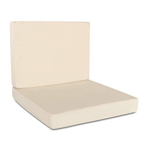Delindo Lifestyle® Outdoor Lounge Sitzkissen und Rückenkissen Bezüge Rio, 50x50 x7 cm, 50x40 x7 cm, beige, Teflon, UV- und wasserabweisend, Ersatzkissenbezüge