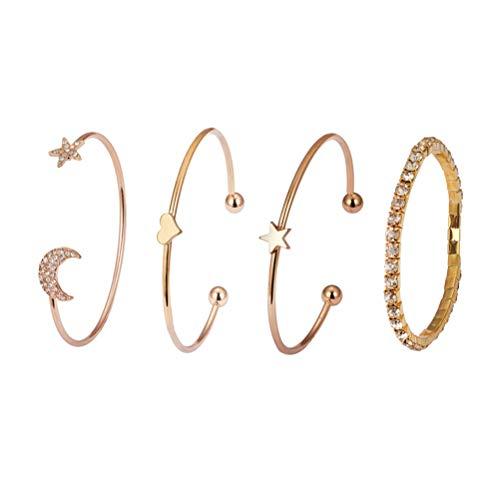 Fenical 4 Pezzi Bracciale Set Semplice Diamante Stella Luna Cuore Elegante Braccialetto di Fascino per Le Donne Ragazza Regalo Madre