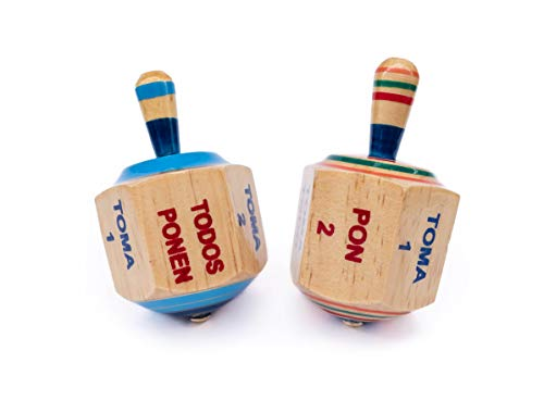 Find Discount ELIASM Pirinola Toma Todo Set – Wood Spinning Top Game – Set of 2 - Kids and Adult...