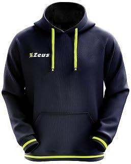 Zeus Felpa Sirio Corsa Sport Uomo Running Jogging Passeggio Tempo Libero Scuola Pegashop (M, Blu-Giallo Fluo)