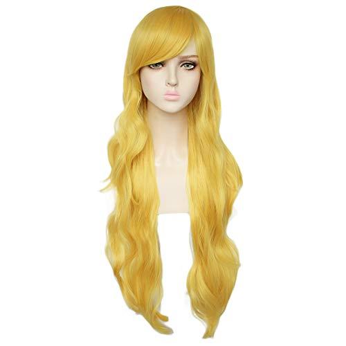 JoneTing Long Yellow Wig Cosplay for Kids Wavy Synthetic Wigs for Girl with Bangs Yellow Cosplay Costume Wig