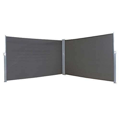 MCTECH Doppel-Seitenmarkise Zertifiziert Sonnenschutz Sichtschutz Windschutz Terrasse Markise Polyester (1.6 * 6m, Anthrazit)
